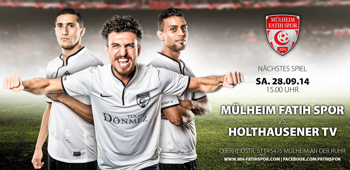 Fußball Spielankündigung Poster Fotoshooting
